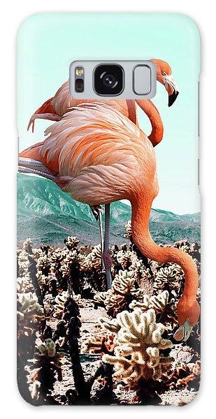 Flamingos In The Desert Galaxy Case by Uma Gokhale