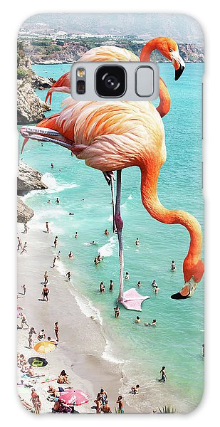 Flamingos On The Beach Galaxy Case by Uma Gokhale
