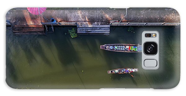 Galaxy Case featuring the photograph Floating Market Aerial View by Pradeep Raja PRINTS