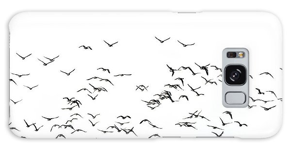 Flock Of Beautiful Migratory Lapwing Birds In Clear Winter Sky I Galaxy Case