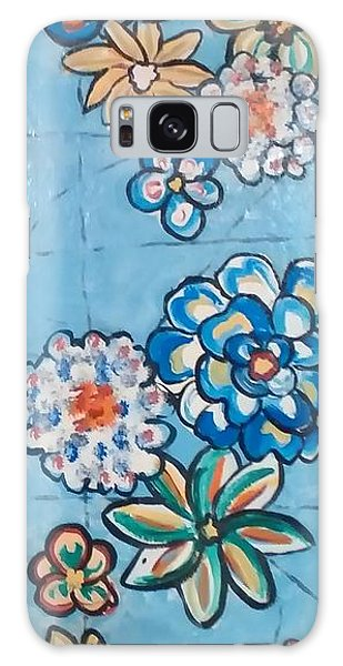Floor Cloth Blue Flowers Galaxy Case by Judith Espinoza