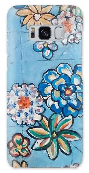 Floor Cloth Blue Flowers Galaxy Case
