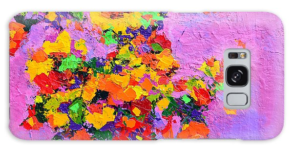 Floral Still Life - Flowers In A Vase Modern Impressionist Palette Knife Artwork Galaxy Case