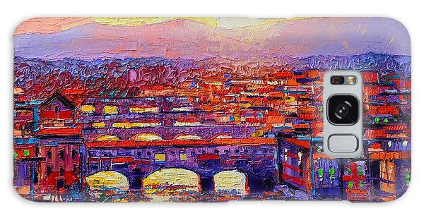 Florence Sunset Over Ponte Vecchio Abstract Impressionist Knife Oil Painting By Ana Maria Edulescu Galaxy Case