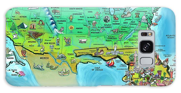 Florida Usa Cartoon Map Galaxy Case