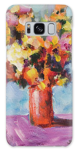Flower Bouquet In Red Vase Galaxy Case by Yulia Kazansky
