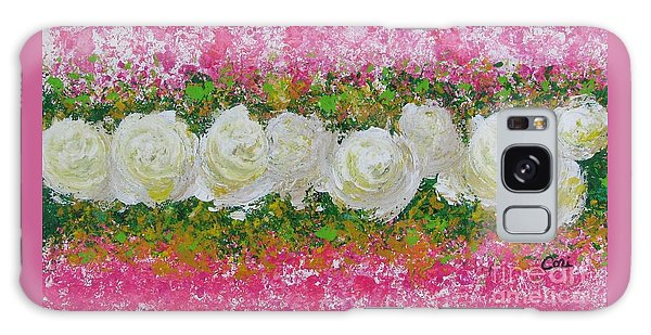 Flowerline In Pink And White Galaxy Case