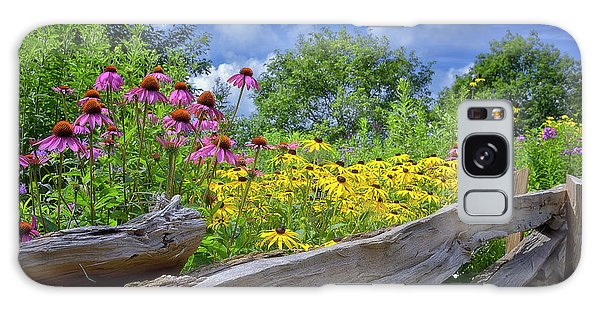 Flowers Along A Wooden Fence Galaxy Case