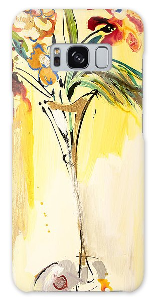 Flowers Flowing In Yellow Galaxy Case