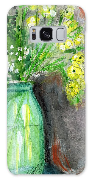 Country Living Galaxy Case - Flowers In A Green Jar- Art By Linda Woods by Linda Woods