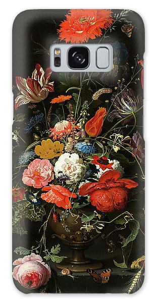 Metal Leaf Galaxy Case - Flowers In A Metal Vase by Abraham Mignon