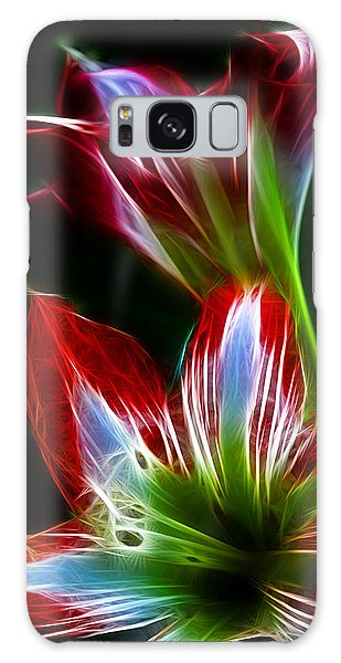 Flowers In Green And Red Galaxy Case