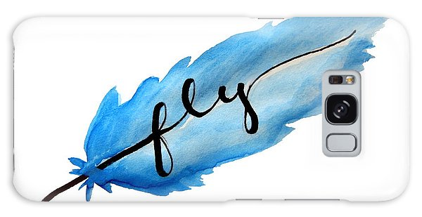 Feathers Galaxy Case - Fly Watercolor Feather Horizontal by Michelle Eshleman