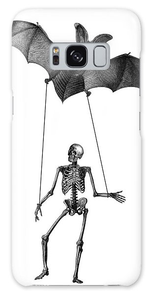 Halloween Galaxy Case - Flying Bat With Skeleton On A String by Madame Memento
