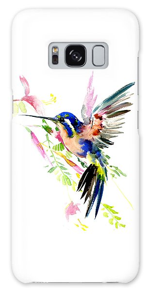 Flying Hummingbird Ltramarine Blue Peach Colors Galaxy Case