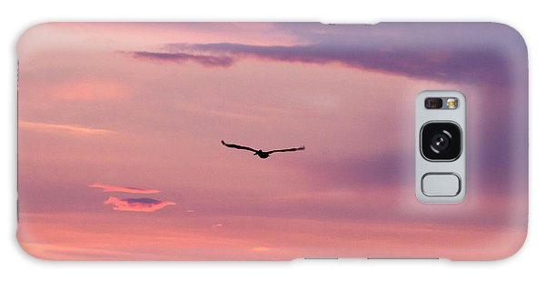 Flying Pelican At Sunset Galaxy Case
