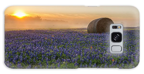 Haybale Galaxy Case - Foggy Bluebonnet Sunrise - Independence Texas by Brian Harig