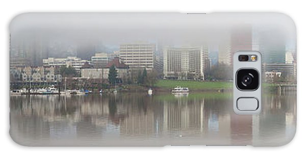 Foggy Day Along Portland Waterfront Panorama Galaxy Case