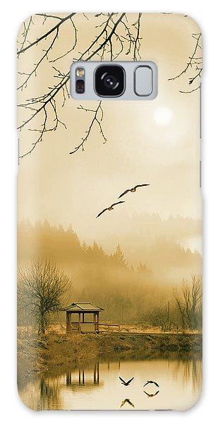 Foggy Lake And Three Couple Of Birds Galaxy Case