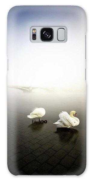 Foggy Morning View Near Bridge With Two Swans At Vltava River, Prague, Czech Republic Galaxy Case