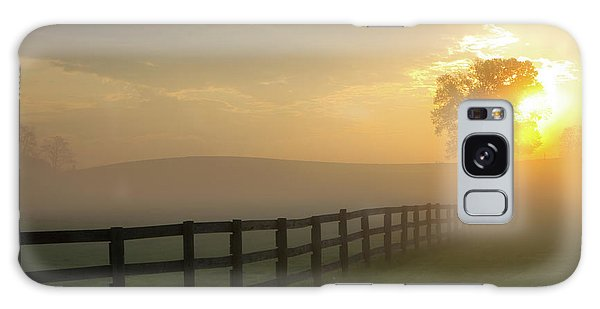 Foggy Pasture Sunrise Galaxy Case