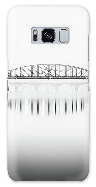 Foggy Winter Mood At Vltava River. Reflection Of Bridges In Water. Black And White Atmosphere, Prague, Czech Republic Galaxy Case