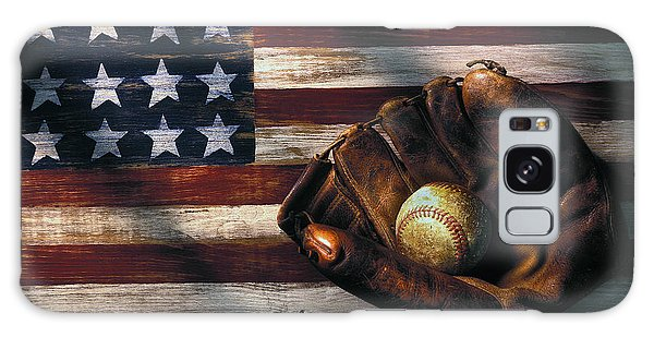 Horizontal Galaxy Case - Folk Art American Flag And Baseball Mitt by Garry Gay