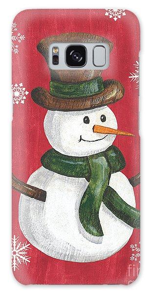 Scarf Galaxy Case - Folk Snowman by Debbie DeWitt