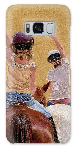 Follow The Leader - Horseback Riding Lesson Painting Galaxy Case by Patricia Barmatz