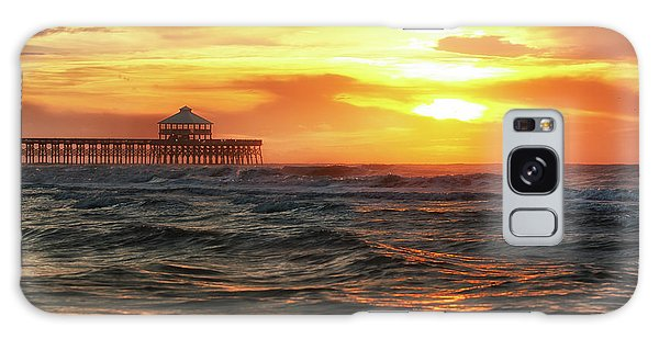 Folly Beach Pier Sunrise Galaxy Case