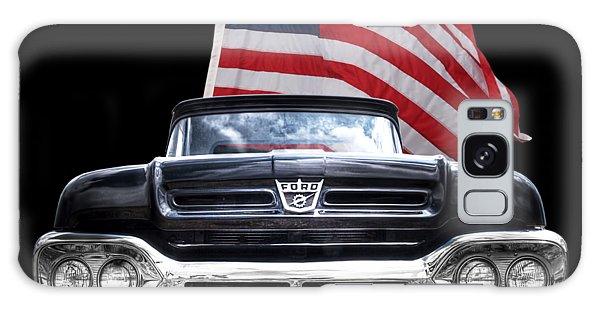 Ford F100 With U.s.flag On Black Galaxy Case