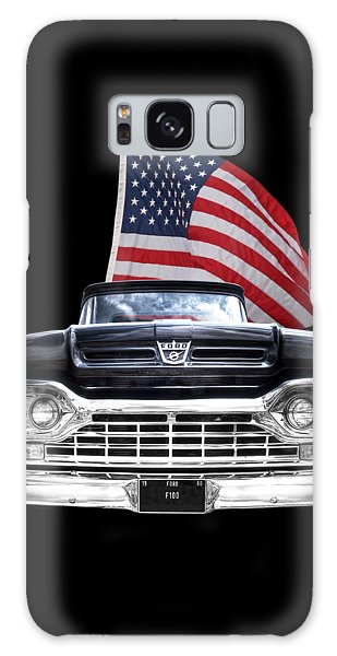 Ford F100 With U.s.flag On Black Galaxy Case