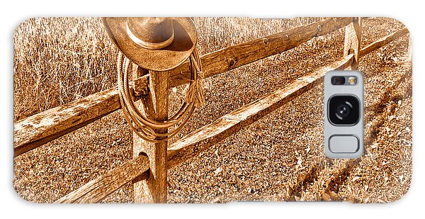 Fence Post Galaxy Case - Forgetting Texas - Sepia by Olivier Le Queinec