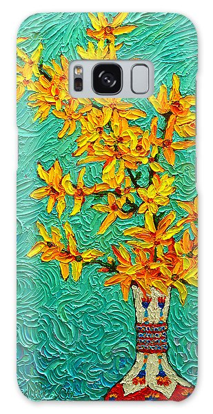Forsythia Vibration Modern Impressionist Flower Art Palette Knife Oil Painting By Ana Maria Edulescu Galaxy Case