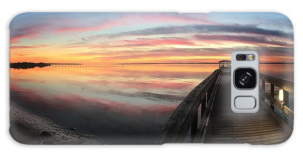 Fort Fisher Sunset Reverie With Heron Galaxy Case
