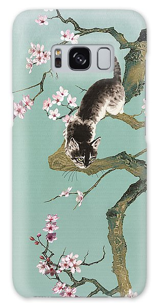 Fortune Cat In Cherry Tree Galaxy Case