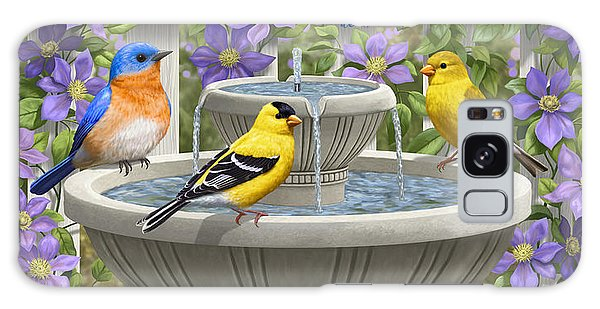 Fountain Festivities - Birds And Birdbath Painting Galaxy Case