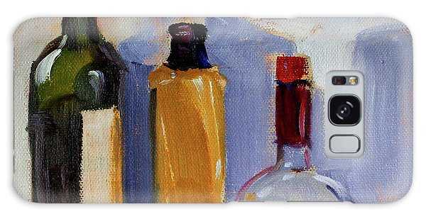 Galaxy Case featuring the painting Four Bottles by Nancy Merkle