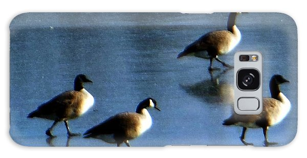 Four Geese Walking On Ice Galaxy Case