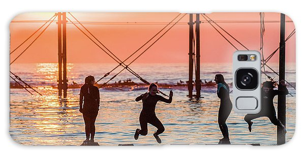 Four Girls Jumping Into The Sea At Sunset Galaxy Case