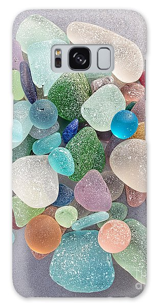 Four Marbles And A Rainbow Of Beach Glass Galaxy Case