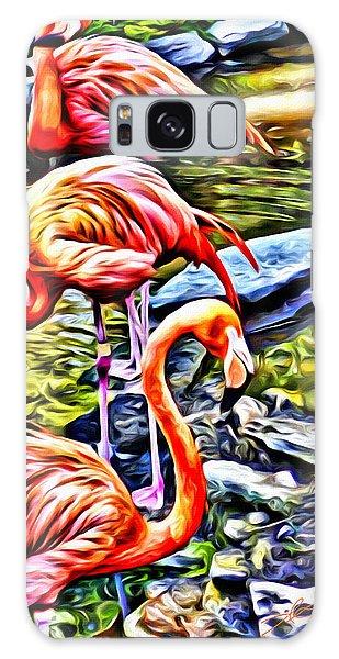 Four Pink Flamingos Galaxy Case