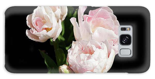 Four Pink Tulips And A Bud On Black Galaxy Case