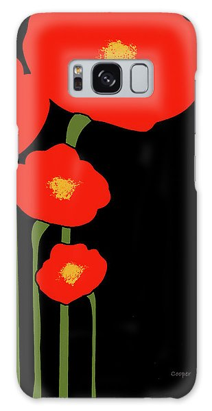 Four Red Flowers On Black Galaxy Case