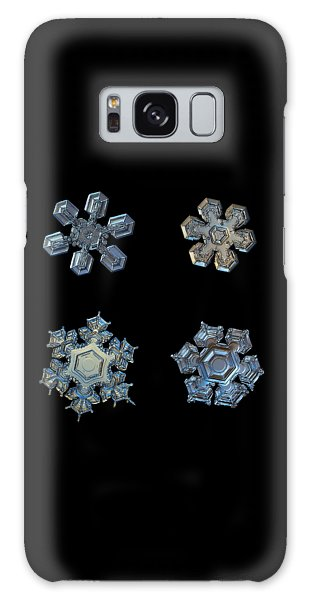 Four Snowflakes On Black 2 Galaxy Case