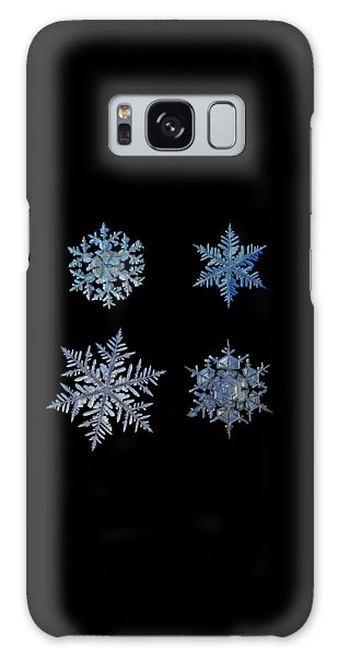 Galaxy Case featuring the photograph Four Snowflakes On Black Background by Alexey Kljatov