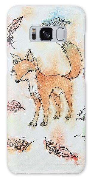 Fall Galaxy Case - Fox And Feathers by Venie Tee