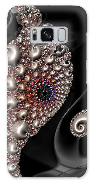 Galaxy Case featuring the digital art Fractal Contact - Silver Copper Black by Matthias Hauser
