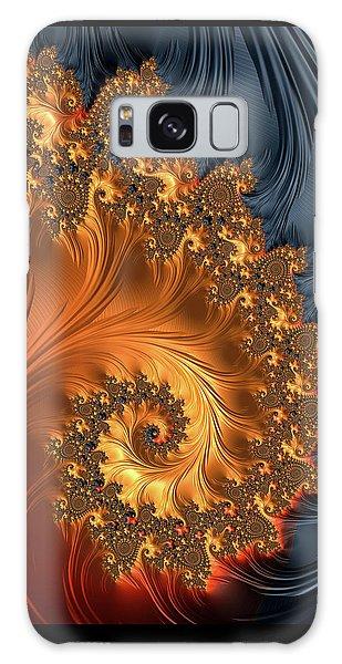 Galaxy Case featuring the digital art Fractal Spiral Orange Golden Black by Matthias Hauser