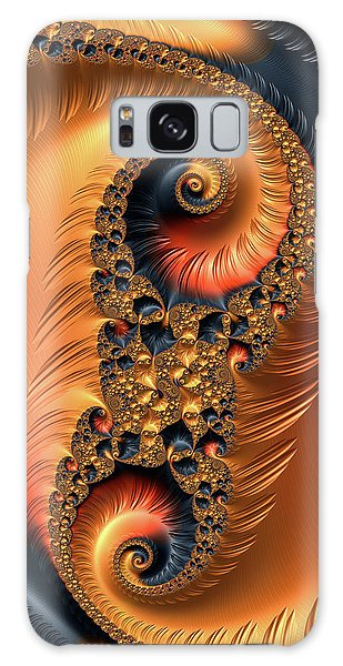 Galaxy Case featuring the digital art Fractal Spirals With Warm Colors Orange Coral by Matthias Hauser